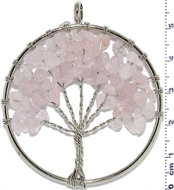 Tree Of Life Stone Metallic Pendant Silver Tone Light Pink PD611