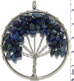 Tree Of Life Stone Metallic Pendant Silver Tone Mix Blue PD612
