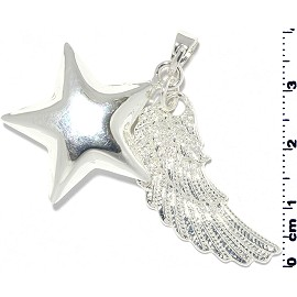 Star Wing Pendant Harmony Chime White Silver Tone PD613