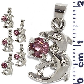 6pc Rhinestone Pendant Dolphin Silver Purple PD623
