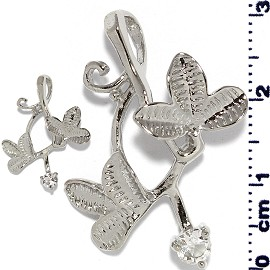 2pc Rhinestone Pendant Leaf Silver Clear PD628