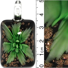 Glass Pendant Flower Rectangle Black Gold Green PD641