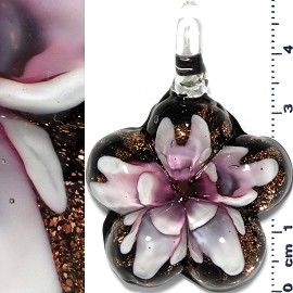 Glass Pendant Flower Round Star Gold Black Pink PD660