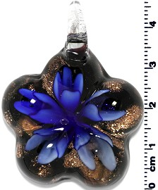 Glass Pendant Flower Round Star Gold Black Blue PD661