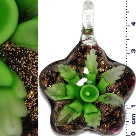 Glass Pendant Flower Round Star Gold Black Green PD667