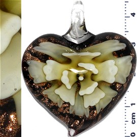 Glass Pendant Flower Heart Gold Black Yellow PD670