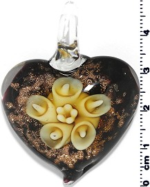 Glass Pendant Flower Heart Gold Black Yellow PD671