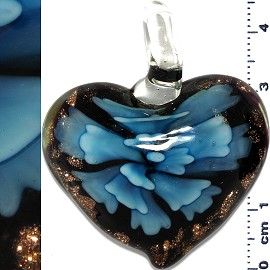 Glass Pendant Flower Heart Gold Black Turquoise PD673