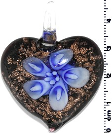 Glass Pendant Heart Flower Gold Black Blue PD675