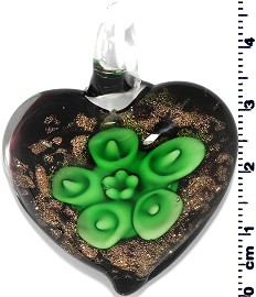 Glass Pendant Flower Heart Gold Black Green PD676