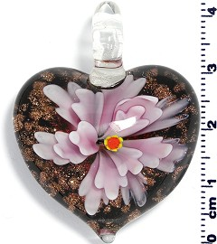 Glass Pendant Heart Flower Gold Black Pink PD701