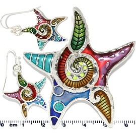Set Star Fish Earring Multi Color PD702