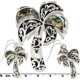 Set Earring pendant Abalone Palm Tree Green PD704
