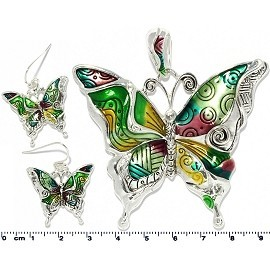 Necklace Earring Set Butterfly Multi Color Silver Green PD705
