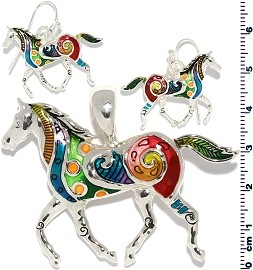 Set Earring Horse Multi Color PD706