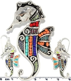 Set Earring Sea Horse Multi Color PD707