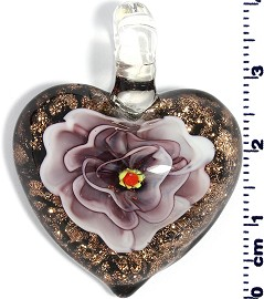 Glass Pendant Heart Flower Gold Black Purple PD717