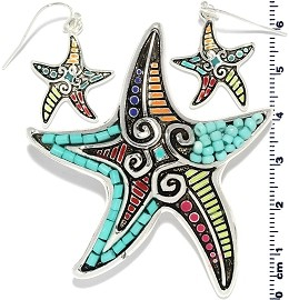 Set Earring Star Fish Multi Color PD719