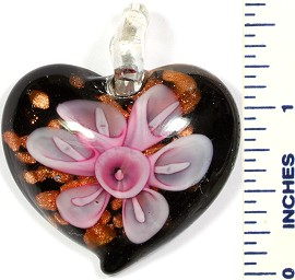 Glass Pendant Flower Heart Gold Black Pink PD721