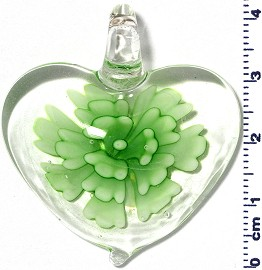 Glass Pendant Flower Heart Clear Green PD731
