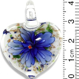 Glass Pendant Flower Heart White Gold Green Blue PD736