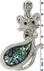 Abalone Pendant Cat Silver Green PD740