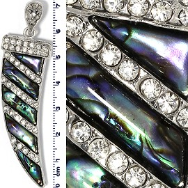 Abalone Pendant Rhinestone Tusk Tooth Horn Silver Green PD741