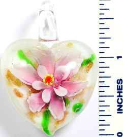 Glass Pendant Flower Heart White Pink PD757