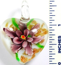 Glass Pendant Flower Heart White Purple PD759