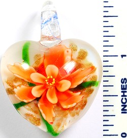 Glass Pendant Flower Heart White Orange PD761