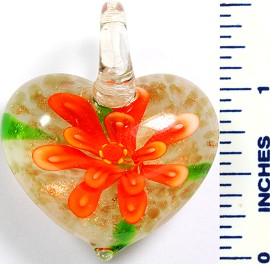 Glass Pendant Flower Heart White Orange PD763