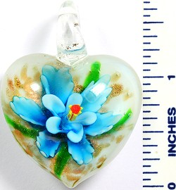Glass Pendant Flower Heart White Sky Blue PD767