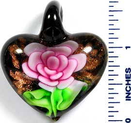 Glass Pendant Flower Heart Black Green Pink PD770