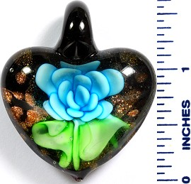 Glass Pendant Flower Heart Black Green Sky Blue PD772