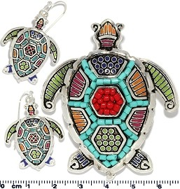 Set Pendant Earrings Turtle Multi Color PD774