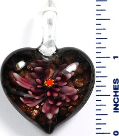 Glass Pendant Flower Heart Black Purple Dark PD778