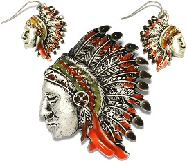 1 Set Pendant Earrings Indian Chief Metallic Silver Orange PD784