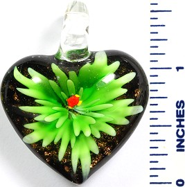 Glass Pendant Flower Heart Black Green PD786