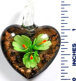 Glass Pendant Flower Heart Black Green PD788