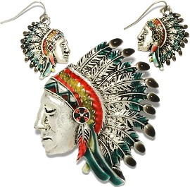 1 Set Pendant Earrings Indian Chief Metallic Silver Green PD789