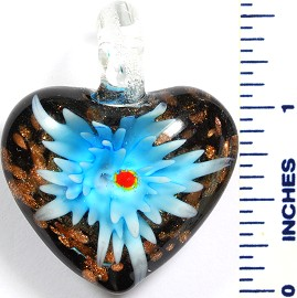 Glass Pendant Flower Heart Black Sky Blue PD795
