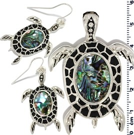 Set Earring Pendant Abalone Silver Green Sea Turtle PD797