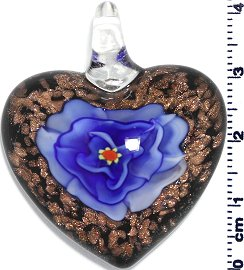 Glass Pendant Heart Flower Black Gold Blue PD800