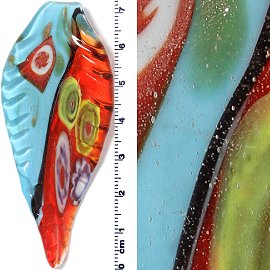 Sky Blue Red Long Bent Leaf Glass Pendant PD804