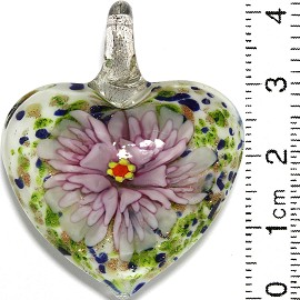 Glass Pendant Flower Heart White Gold Green Blue Pink PD808