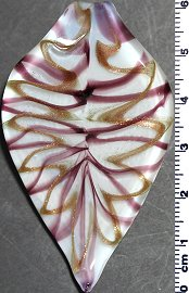 Glass Pendant Leaf Point White Gold Purple PD815