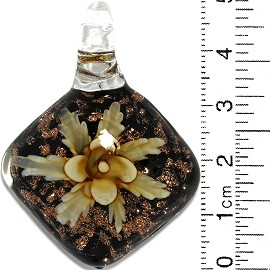 Glass Pendant Flower Square Dome Black Gold Yellow PD818