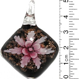 Glass Pendant Flower Square Dome Black Gold Pink PD819