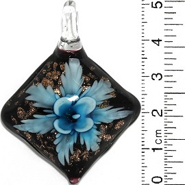 Glass Pendant Flower Square Dome Black Gold Sky Blue PD820