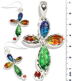 Set Earring Pendant Multi Color Cross PD822